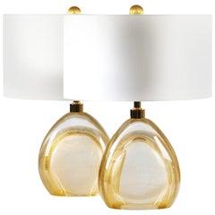 Seguso Vetri d'Arte Oro Sommerso Table Lamp Gold Murano Glass