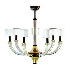 Seguso Vetri d'Arte Splendor Clear Gold Murano Glass 7-Light Chandelier