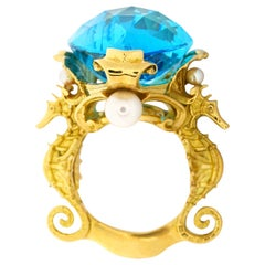 Seirenes' Abyss Ring, 18 Karat Yellow Gold with Swiss Blue Topaz & Akoya Pearls