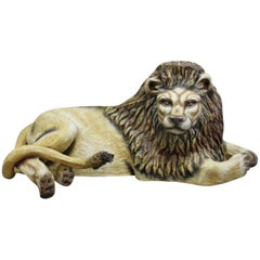 Sergio Bustamante Early Lion Sculpture Hand-painted, 1975