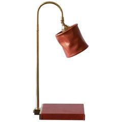Series01 Desk Lamp, Hand-Dyed Gochujang Red Leather, Polished Unlacquered Brass