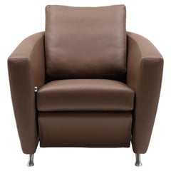 Sesam Adjustable Reclining Leather Armchair by FSM