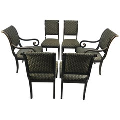 Set 6 Black Lacquer and Gold Regency Modern Dining Chairs