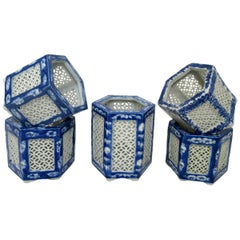 Set Hand Painted Blue White Japane Chinese Reticulated Hexagonal Porcelain Vases