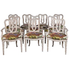 Set of 10 Carved Wood Dining Chairs, Serge Roche Style
