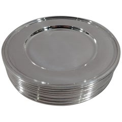 Set of 10 Tiffany Modern Sterling Silver Bread and Butter Plates
