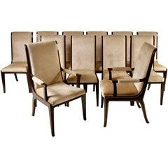 Set of 12 Bernhard Rohne for Mastercraft Amboyna Burl and Brass Dining Chairs