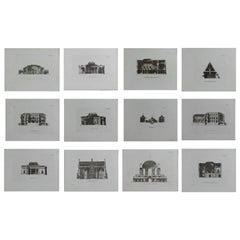Set of 12 Original Antique Architectural Prints, A.G. Cook, circa 1820