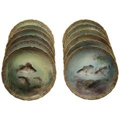 Set of 12 Royal Doulton Fish Plates, circa 1890