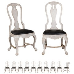 Set of 12 Swedish Rococo Style 19th Century Upholstered Painted Dining Chairs