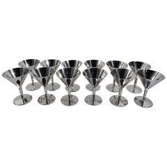 Set of 12 Tiffany American Art Deco Sterling Silver Cocktail Cups