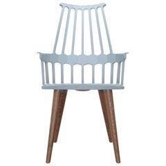Set of 2 Kartell Comback Chairs in Grey Blue with Oak Legs by Patricia Urquiola