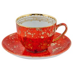 Set of 2 Tea Cups & Saucer Gold Hand Painted Coralla Maiuri Modern New Tableware