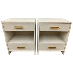 Set of 4 Custom Linen Wrapped Two-Drawer Nightstands End Tables
