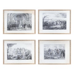 Set of 4 Napoleonic Military Etchings in Gilt Frames Found in France