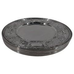 Set of 6 Antique Gorham Maintenon Sterling Silver Dinner Plates
