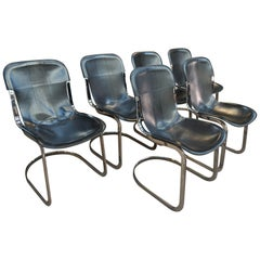 Set of 6 Chairs by Designer Willy Rizzo Leather and Chrome Metal, circa 1970