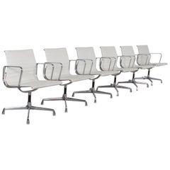 Set of 6 Charles & Ray Eames EA 107 Aluminum Group Chairs, White Leather, 1970s