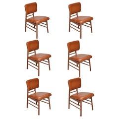 Set of 6 Greta Grossman for Glenn of California Model 6260 Leather Chairs