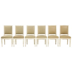 Set of 6 Louis XVI Style Dining Chairs in a Taupe Leather