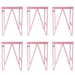 Set of 6 Pink Colour Play Steel and Wood Stools