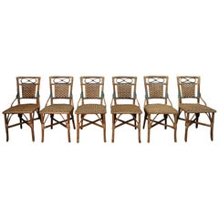 Set of 6 Wicker or Rattan Chairs, circa 1960