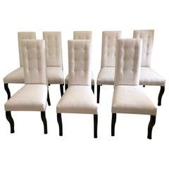 Set of 8 Cleopatra Black Leg High Back Dining Chairs