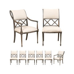 Set of Eight Empire Style Henredon Dining Chairs, Newly Upholstered