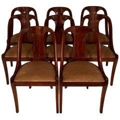 Set of Eight French Empire Gondola Chairs