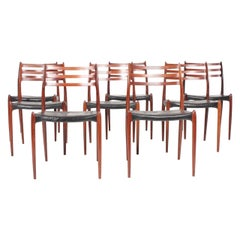 Set of Eight Midcentury Dining Chairs in Rosewood byMøller, Danish Design, 1960s