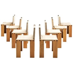 Set of Eight Monk Chairs in Canvas by Afra & Tobia Scarpa for Molteni
