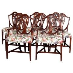 Set of Eight Vintage English Mahogany Shield Back Dining Chairs, circa 1930