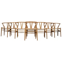 Set of Eight Vintage Oak and Papercord CH24 or Wishbone Chairs by Hans J Wegner