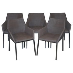 Set of Five Gloster Furniture Luxury Chrome Base Garden Armchairs 5 4