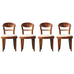 Set of Four French Art Deco Dining Chairs Attributed to Sue et Mare, circa 1920s