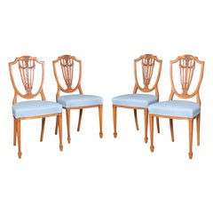 Set of Four Georgian Revival Satinwood Side Chairs