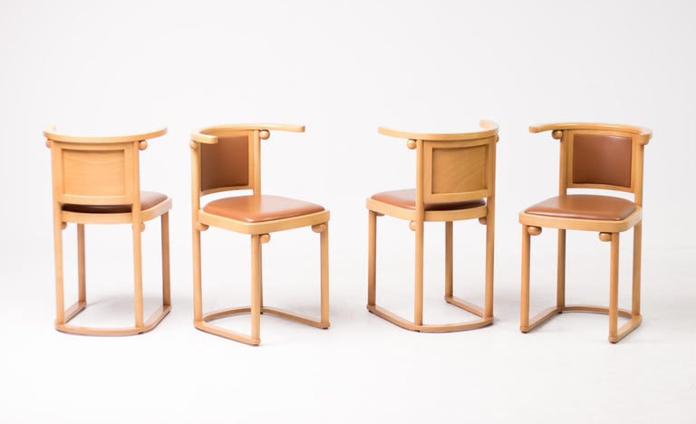 Set of Four Josef Hoffmann Cabaret Fledermaus Chairs For Sale 1