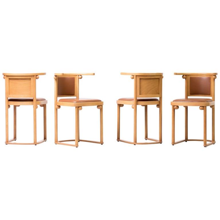 Set of Four Josef Hoffmann Cabaret Fledermaus Chairs For Sale
