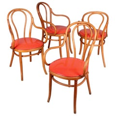 Set of Four Latex and Wood Thonet Chairs