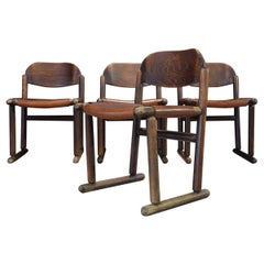 Set of Four Leather and Stained Wood Brutalist Dining Chairs, 1970s