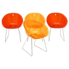 Set of Four Lucite Bucket Chairs