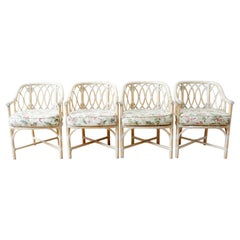 Set of Four Mcguire Organic Modern Bamboo Rattan Armchairs