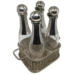 Set of Four Victorian Champagne Decanters Silver Plate