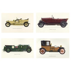 Set of Four Vintage English British Cars Framed Color Lithographs Pictures, 1964