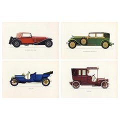 Set of Four Vintage Italian Italy Cars Framed Color Lithographs Pictures, 1964