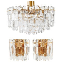 Set of Kalmar Flushmount Light and Sconces 'Palazzo', Gilt Brass Glass, 1970s