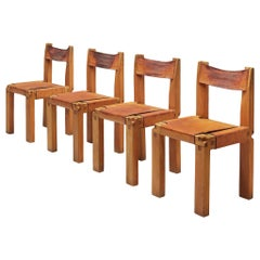 Set of Pierre Chapo 'S11' Chair in Cognac Leather