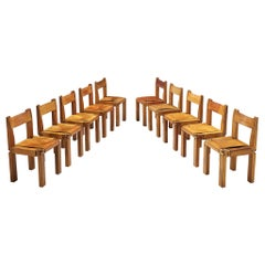 Set of Pierre Chapo 'S11' Chairs in Cognac Leather