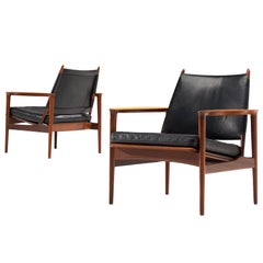 Set of Rare Armchairs by Torbjørn Afdal in Teak and Leather