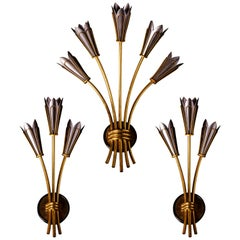 Set of Seven Maison Arlus Wall Sconces in Brass and Gun Metal Finish